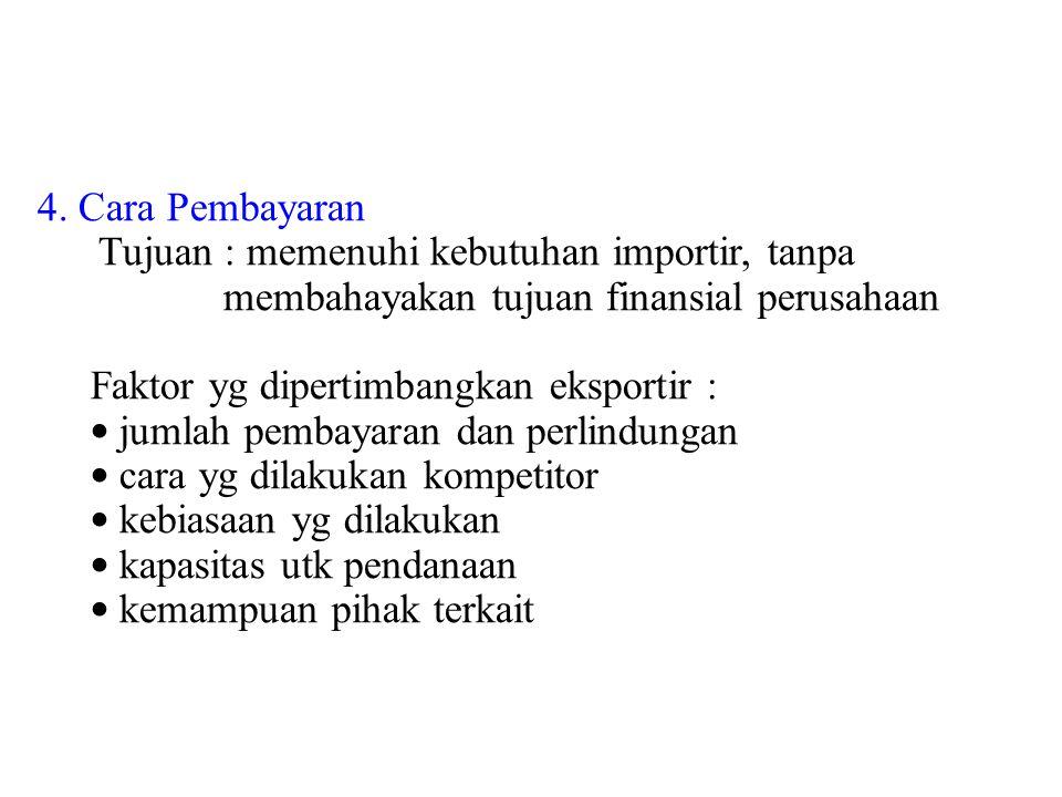 4. Cara Pembayaran Tujuan : memenuhi kebutuhan importir, tanpa membahayakan tujuan finansial perusahaan Faktor yg dipertimbangkan eksportir : jumlah p