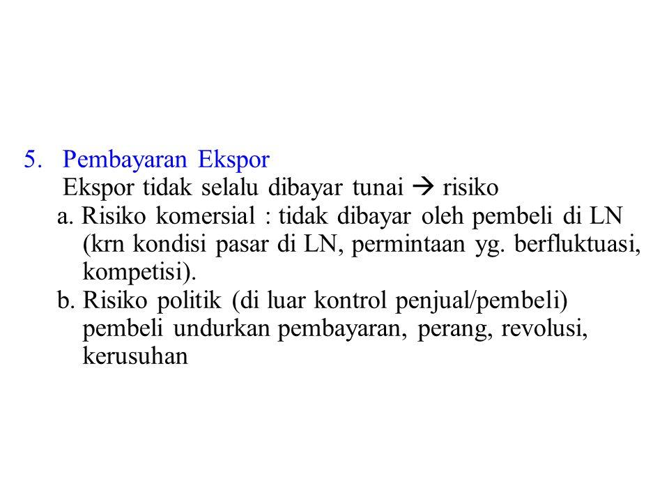 5. Pembayaran Ekspor Ekspor tidak selalu dibayar tunai  risiko a. Risiko komersial : tidak dibayar oleh pembeli di LN (krn kondisi pasar di LN, permi