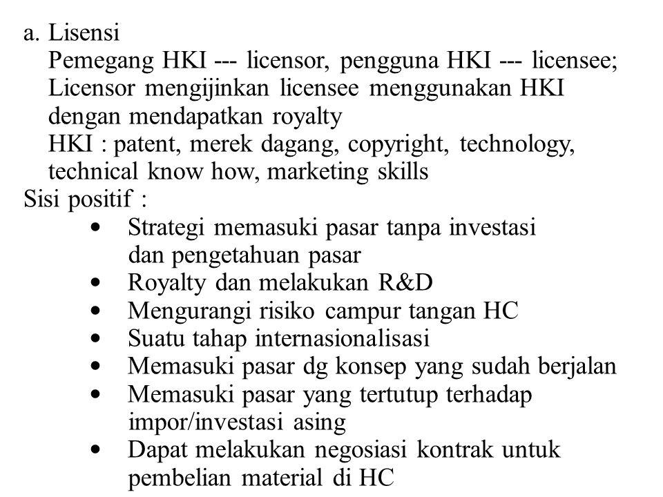 a.Lisensi Pemegang HKI --- licensor, pengguna HKI --- licensee; Licensor mengijinkan licensee menggunakan HKI dengan mendapatkan royalty HKI : patent,