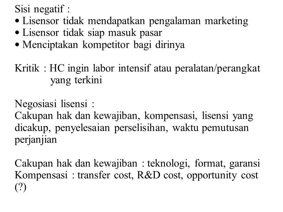 Perjanjian lisensi memperhatikan : peraturan ekspor negara lisensor, kerahasiaan HKI, pencatatan dan pemeriksaan oleh lisensor b.