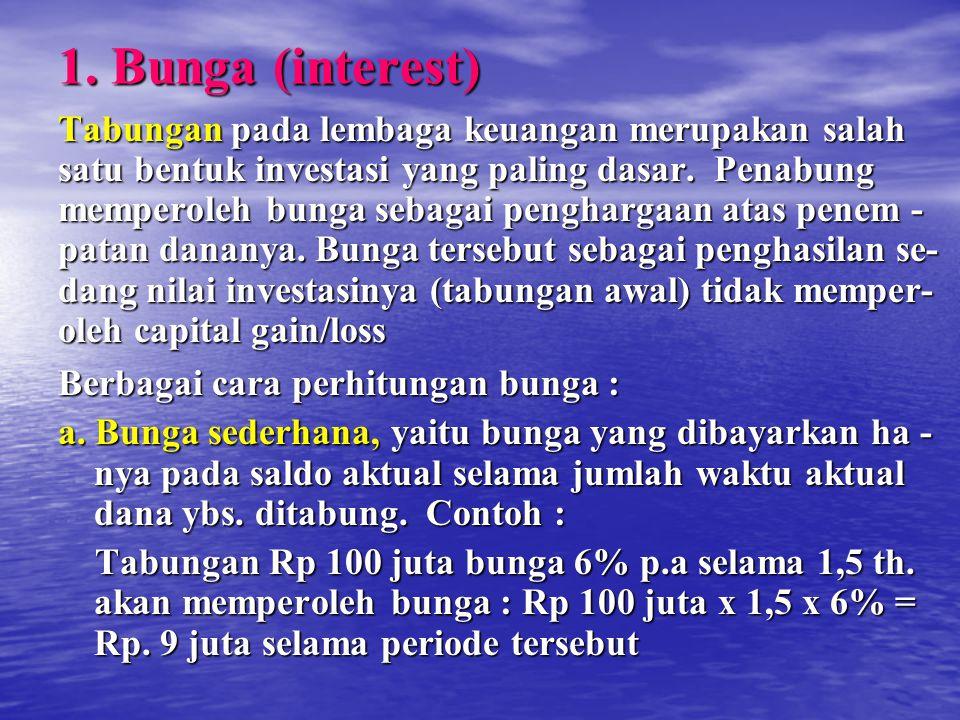 1. Bunga (interest) Tabungan pada lembaga keuangan merupakan salah satu bentuk investasi yang paling dasar. Penabung memperoleh bunga sebagai pengharg