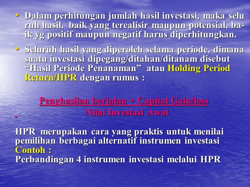 Dalam perhitungan jumlah hasil investasi, maka selu ruh hasil, baik yang terealisir maupun potensial, ba- ik yg positif maupun negatif harus diperhitungkan.