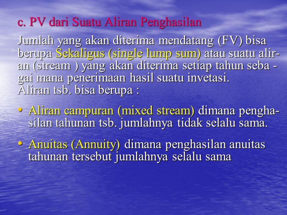 c. PV dari Suatu Aliran Penghasilan Jumlah yang akan diterima mendatang (FV) bisa berupa Sekaligus (single lump sum) atau suatu alir- an (stream ) yan