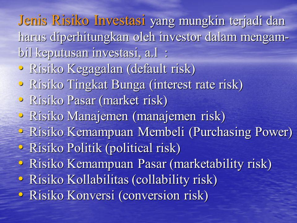 Jenis Risiko Investasi yang mungkin terjadi dan harus diperhitungkan oleh investor dalam mengam- bil keputusan investasi, a.l : Risiko Kegagalan (defa
