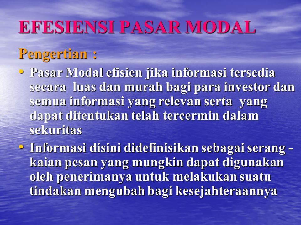 EFESIENSI PASAR MODAL Pengertian : Pasar Modal efisien jika informasi tersedia secara luas dan murah bagi para investor dan semua informasi yang relev