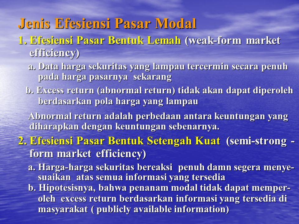 Jenis Efesiensi Pasar Modal 1.Efesiensi Pasar Bentuk Lemah (weak-form market efficiency) a.