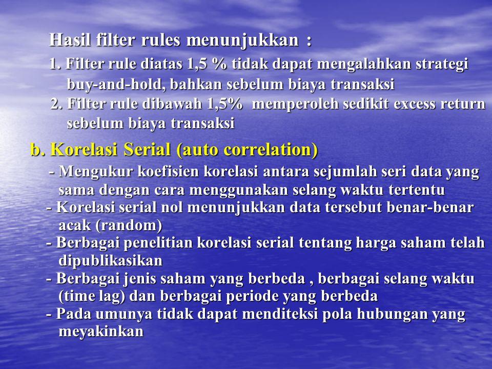 Hasil filter rules menunjukkan : Hasil filter rules menunjukkan : 1. Filter rule diatas 1,5 % tidak dapat mengalahkan strategi 1. Filter rule diatas 1