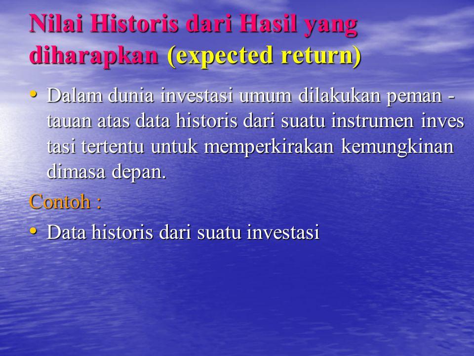 Nilai Historis dari Hasil yang diharapkan (expected return) Dalam dunia investasi umum dilakukan peman - tauan atas data historis dari suatu instrumen inves tasi tertentu untuk memperkirakan kemungkinan dimasa depan.