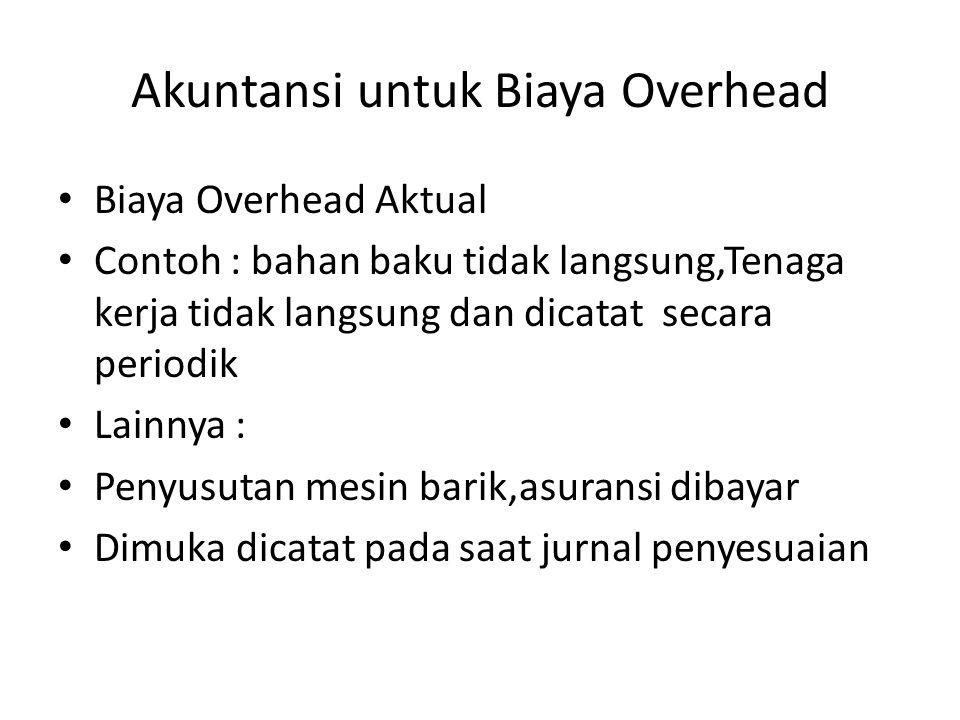 Akuntansi untuk Biaya Overhead Biaya Overhead Aktual Contoh : bahan baku tidak langsung,Tenaga kerja tidak langsung dan dicatat secara periodik Lainny