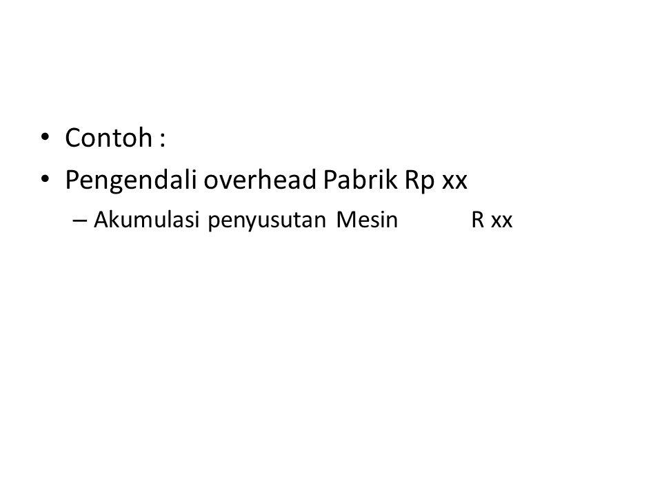 Contoh : Pengendali overhead Pabrik Rp xx – Akumulasi penyusutan Mesin R xx