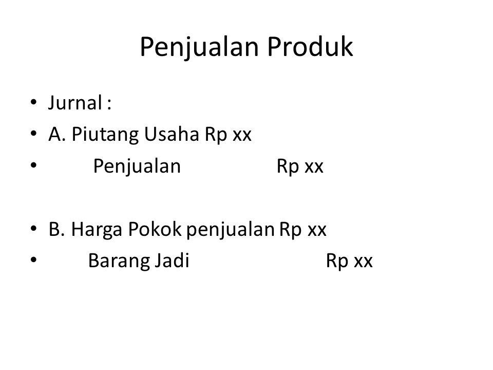Penjualan Produk Jurnal : A. Piutang Usaha Rp xx PenjualanRp xx B. Harga Pokok penjualan Rp xx Barang JadiRp xx