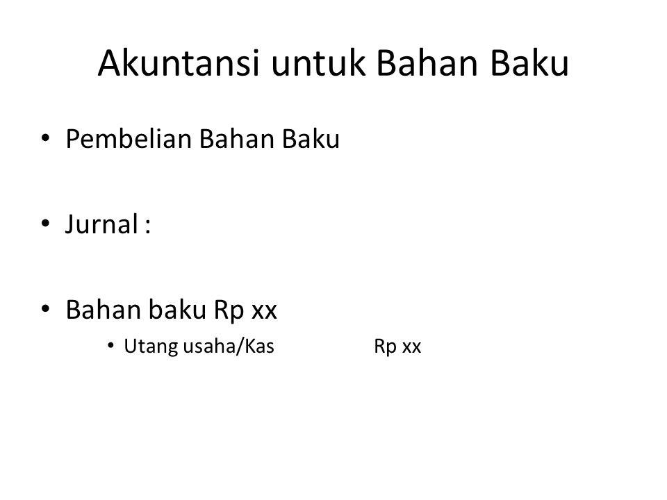 Akuntansi untuk Bahan Baku Pembelian Bahan Baku Jurnal : Bahan baku Rp xx Utang usaha/KasRp xx
