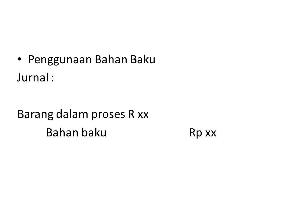 Penggunaan Bahan Baku Jurnal : Barang dalam proses R xx Bahan bakuRp xx