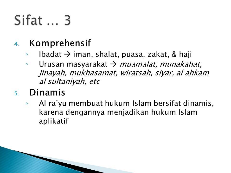 4. Komprehensif ◦ Ibadat  iman, shalat, puasa, zakat, & haji ◦ Urusan masyarakat  muamalat, munakahat, jinayah, mukhasamat, wiratsah, siyar, al ahka