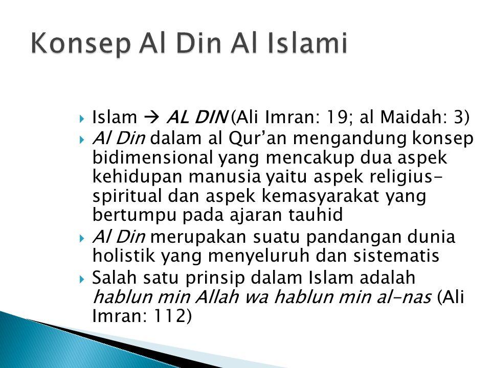  Islam  AL DIN (Ali Imran: 19; al Maidah: 3)  Al Din dalam al Qur'an mengandung konsep bidimensional yang mencakup dua aspek kehidupan manusia yait