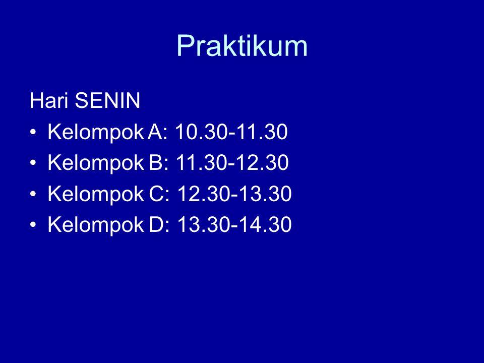 Praktikum Hari SENIN Kelompok A: 10.30-11.30 Kelompok B: 11.30-12.30 Kelompok C: 12.30-13.30 Kelompok D: 13.30-14.30