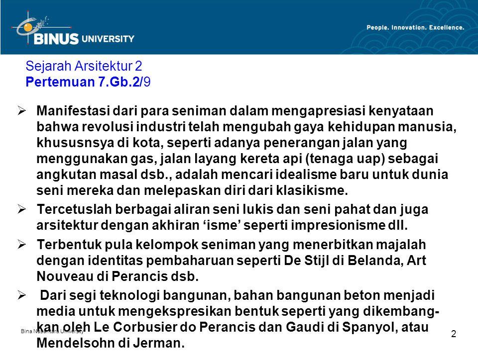 Bina Nusantara University 2 Sejarah Arsitektur 2 Pertemuan 7.Gb.2/9  Manifestasi dari para seniman dalam mengapresiasi kenyataan bahwa revolusi indus