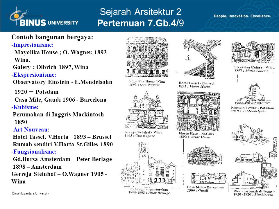 Bina Nusantara University 4 Sejarah Arsitektur 2 Pertemuan 7.Gb.4/9 Contoh bangunan bergaya: -Impresionisme: Mayolika House ; O. Wagner, 1893 Wina. Ga
