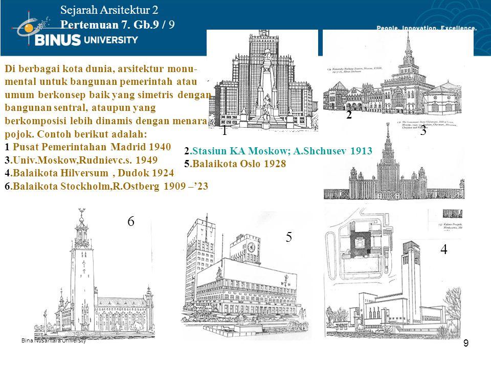 Bina Nusantara University 9 Sejarah Arsitektur 2 Pertemuan 7. Gb.9 / 9 Di berbagai kota dunia, arsitektur monu- mental untuk bangunan pemerintah atau