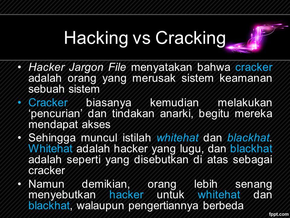 Hacking vs Cracking Hacker Jargon File menyatakan bahwa cracker adalah orang yang merusak sistem keamanan sebuah sistem Cracker biasanya kemudian melakukan 'pencurian' dan tindakan anarki, begitu mereka mendapat akses Sehingga muncul istilah whitehat dan blackhat.