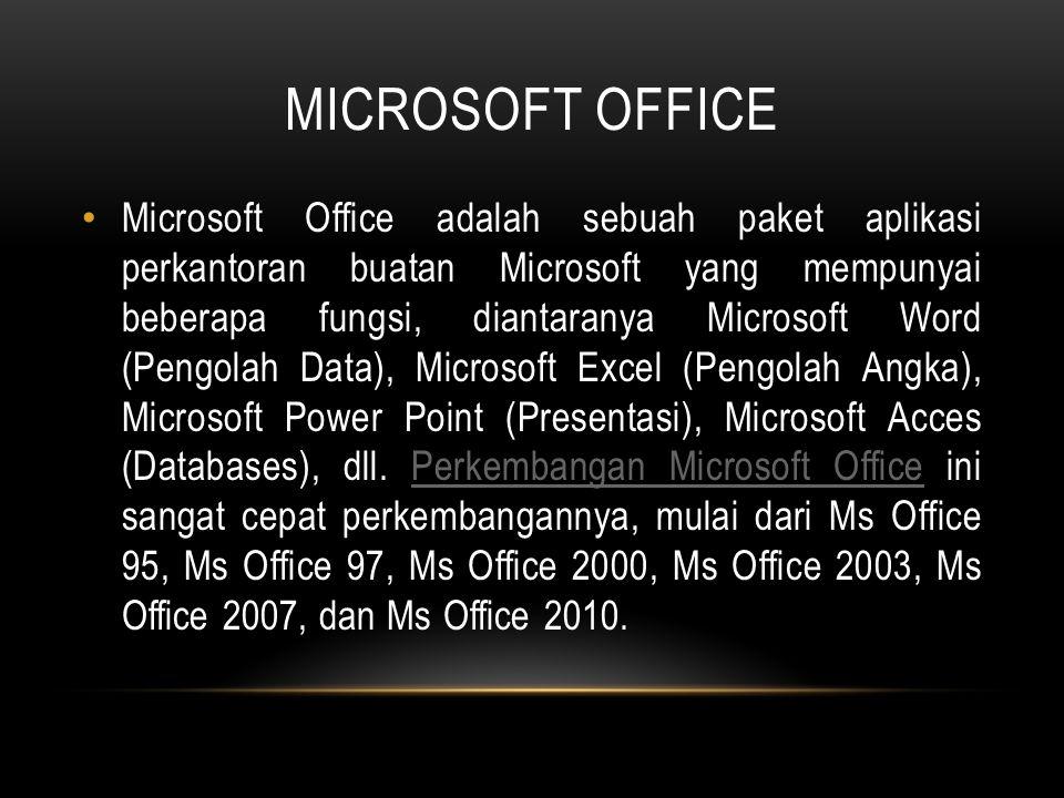 MICROSOFT OFFICE Microsoft Office adalah sebuah paket aplikasi perkantoran buatan Microsoft yang mempunyai beberapa fungsi, diantaranya Microsoft Word