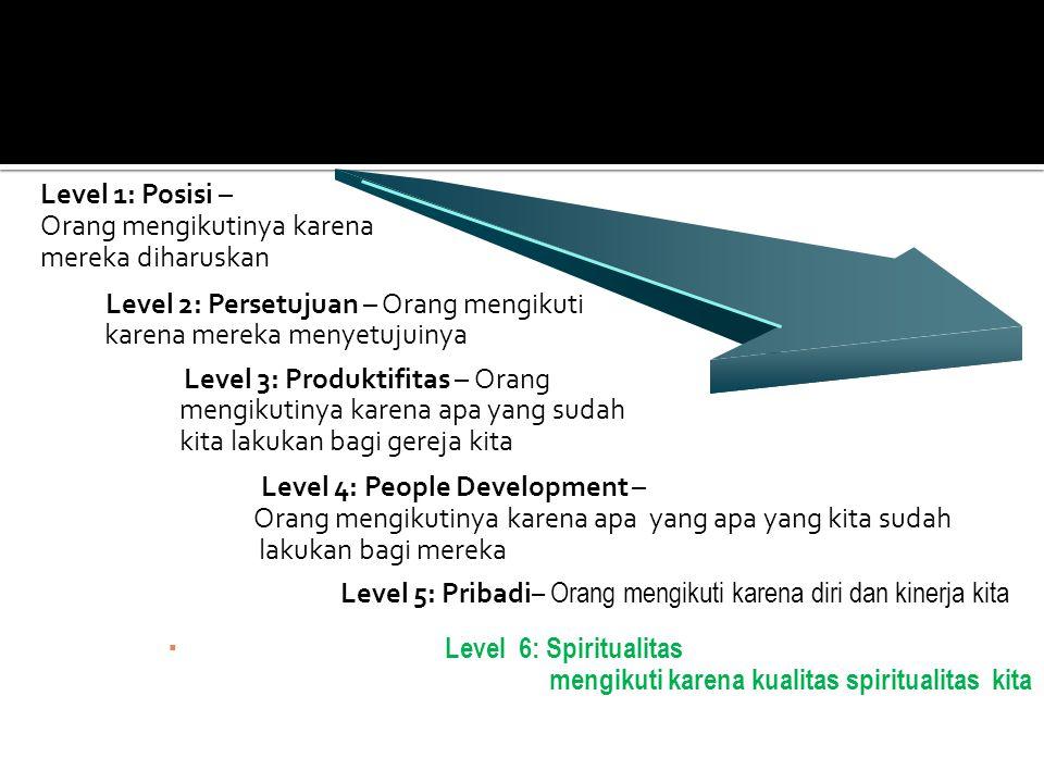 Level 1: Posisi – Orang mengikutinya karena mereka diharuskan Level 2: Persetujuan – Orang mengikuti karena mereka menyetujuinya Level 3: Produktifita