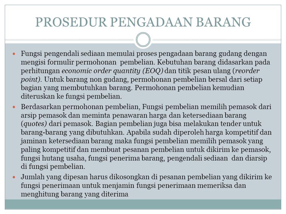 PROSEDUR PENGADAAN BARANG Fungsi pengendali sediaan memulai proses pengadaan barang gudang dengan mengisi formulir permohonan pembelian. Kebutuhan bar