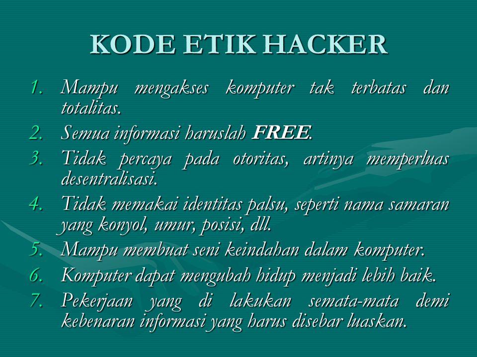 KODE ETIK HACKER 1.Mampu mengakses komputer tak terbatas dan totalitas.