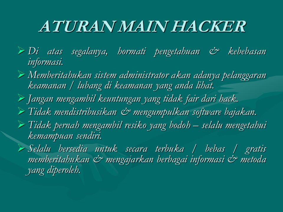 ATURAN MAIN HACKER  Di atas segalanya, hormati pengetahuan & kebebasan informasi.