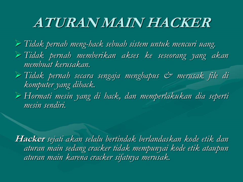 ATURAN MAIN HACKER  Tidak pernah meng-hack sebuah sistem untuk mencuri uang.