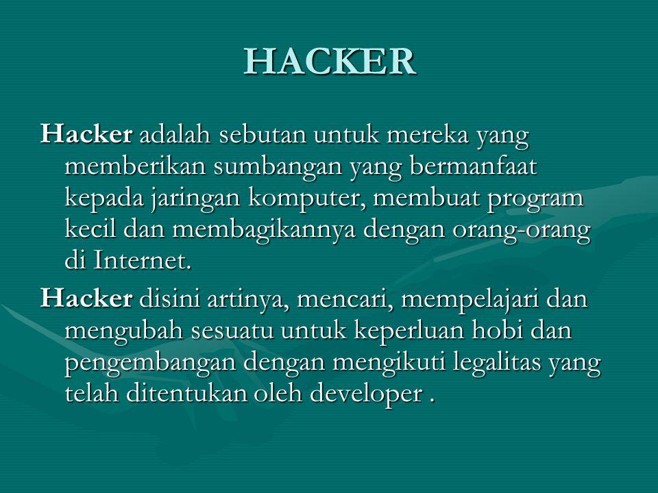 HACKER Hacker adalah sebutan untuk mereka yang memberikan sumbangan yang bermanfaat kepada jaringan komputer, membuat program kecil dan membagikannya dengan orang-orang di Internet.