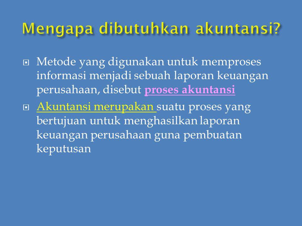  Akuntansi  The Language of Bussiness  karena akuntansi sering digunakan di kalangan dunia usaha  dalam bentuk: a.
