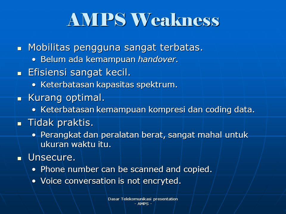 Dasar Telekomunikasi presentation - AMPS - AMPS Weakness Mobilitas pengguna sangat terbatas.