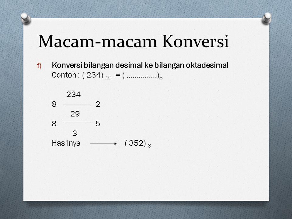 Macam-macam Konversi f) Konversi bilangan desimal ke bilangan oktadesimal Contoh : ( 234) 10 = ( ……………) 8 234 82 29 85 3 Hasilnya ( 352) 8