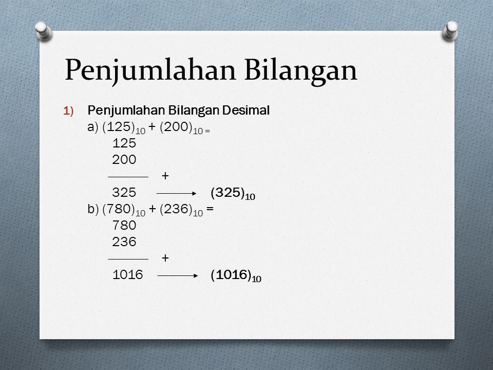 Penjumlahan Bilangan 1) Penjumlahan Bilangan Desimal a) (125) 10 + (200) 10 = 125 200 + 325(325) 10 b) (780) 10 + (236) 10 = 780 236 + 1016(1016) 10