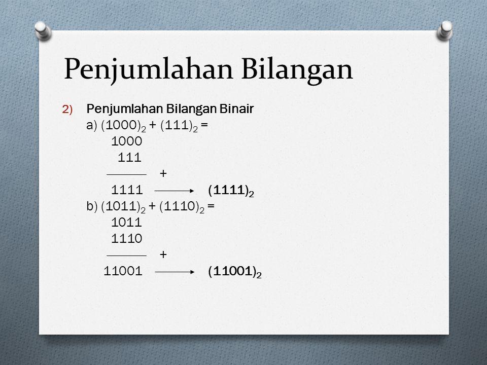 Penjumlahan Bilangan 2) Penjumlahan Bilangan Binair a) (1000) 2 + (111) 2 = 1000 111 + 1111(1111) 2 b) (1011) 2 + (1110) 2 = 1011 1110 + 11001(11001)