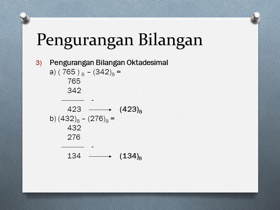 Pengurangan Bilangan 3) Pengurangan Bilangan Oktadesimal a) ( 765 ) 8 – (342) 8 = 765 342 - 423(423) 8 b) (432) 8 – (276) 8 = 432 276 - 134(134) 8