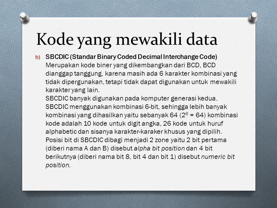 Kode yang mewakili data b) SBCDIC (Standar Binary Coded Decimal Interchange Code) Merupakan kode biner yang dikembangkan dari BCD, BCD dianggap tanggu