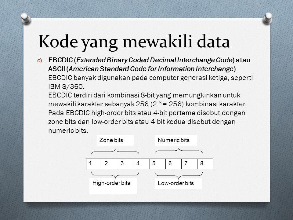 Kode yang mewakili data c) EBCDIC (Extended Binary Coded Decimal Interchange Code) atau ASCII (American Standard Code for Information Interchange) EBC