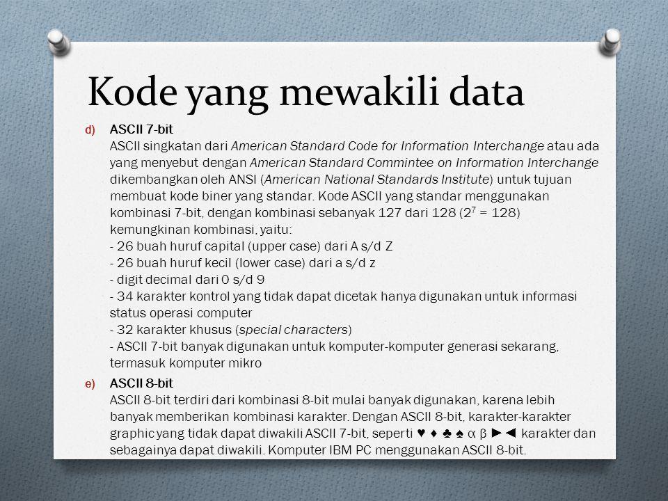 Kode yang mewakili data d) ASCII 7-bit ASCII singkatan dari American Standard Code for Information Interchange atau ada yang menyebut dengan American