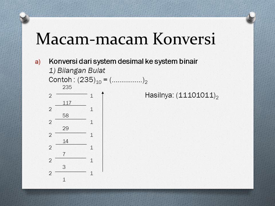 Macam-macam Konversi a) Konversi dari system desimal ke system binair 1) Bilangan Bulat Contoh : (235) 10 = (…………….) 2 235 21 Hasilnya: (11101011) 2 1