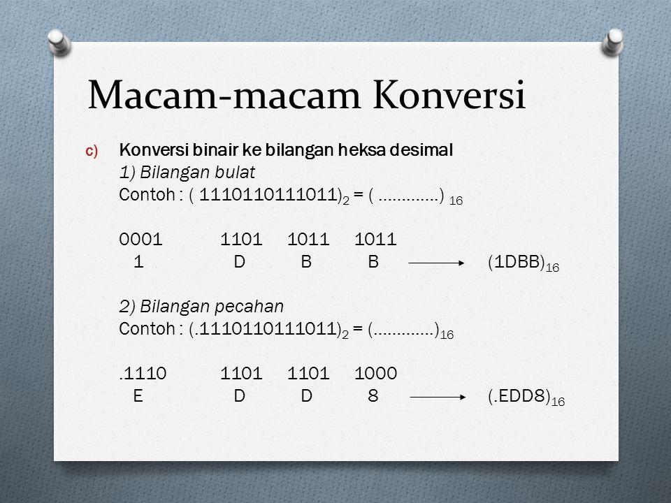 Macam-macam Konversi c) Konversi binair ke bilangan heksa desimal 1) Bilangan bulat Contoh : ( 1110110111011) 2 = ( ………….) 16 0001110110111011 1 D B B