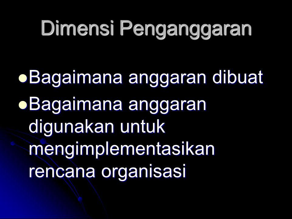 Dimensi Penganggaran Bagaimana anggaran dibuat Bagaimana anggaran dibuat Bagaimana anggaran digunakan untuk mengimplementasikan rencana organisasi Bagaimana anggaran digunakan untuk mengimplementasikan rencana organisasi