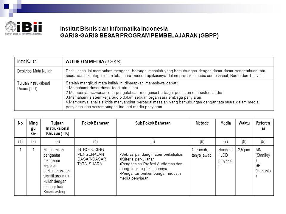 Institut Bisnis dan Informatika Indonesia GARIS-GARIS BESAR PROGRAM PEMBELAJARAN (GBPP) Mata Kuliah AUDIO IN MEDIA (3 SKS) Deskripsi Mata Kuliah Perku