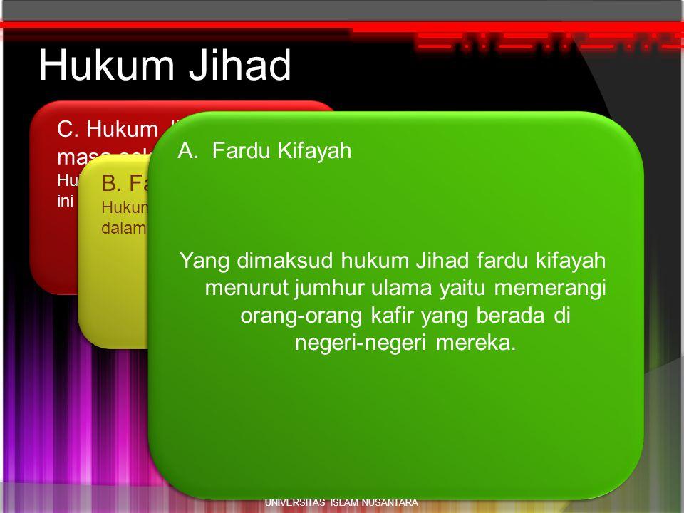 h1 C. Hukum Jihad pada masa sekarang. Hukum jihad pada masa sekarang ini adalah FARDU 'AIN. Hukum Jihad B. Fardu A'in Hukum Jihad menjadi Fardu A'in d