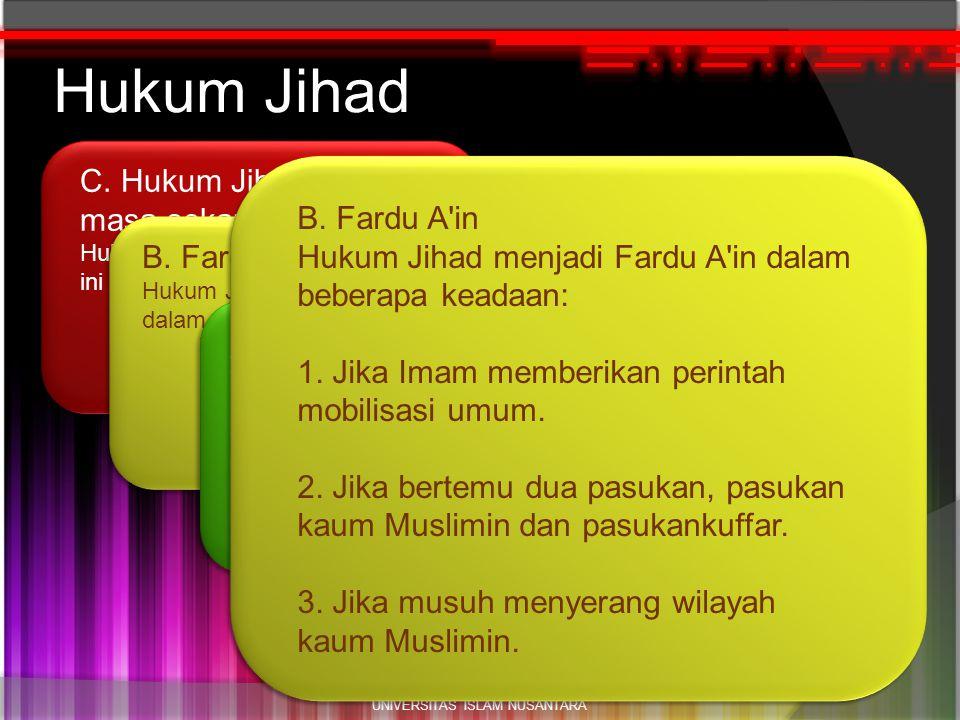 h2 C. Hukum Jihad pada masa sekarang. Hukum jihad pada masa sekarang ini adalah FARDU 'AIN. Hukum Jihad UNIVERSITAS ISLAM NUSANTARA B. Fardu A'in Huku