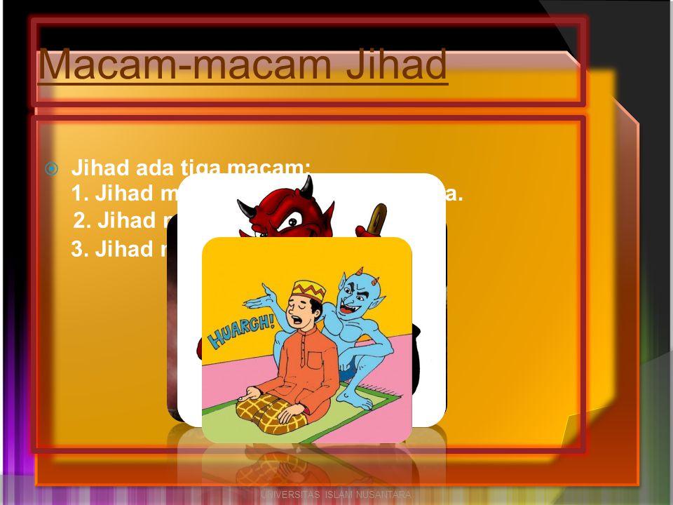  Jihad ada tiga macam: Macam-macam Jihad UNIVERSITAS ISLAM NUSANTARA 2. Jihad melawan syaithan. 3. Jihad melawan hawa nafsu. 1. Jihad melawan musuh y
