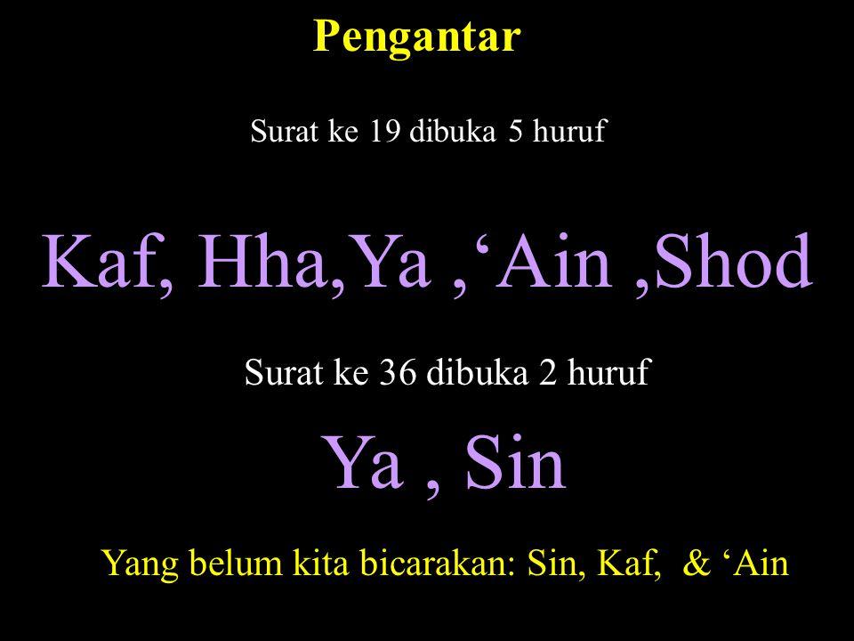 Surat ke 19 dibuka 5 huruf Kaf, Hha,Ya,'Ain,Shod Surat ke 36 dibuka 2 huruf Ya, Sin Yang belum kita bicarakan: Sin, Kaf, & 'Ain Pengantar