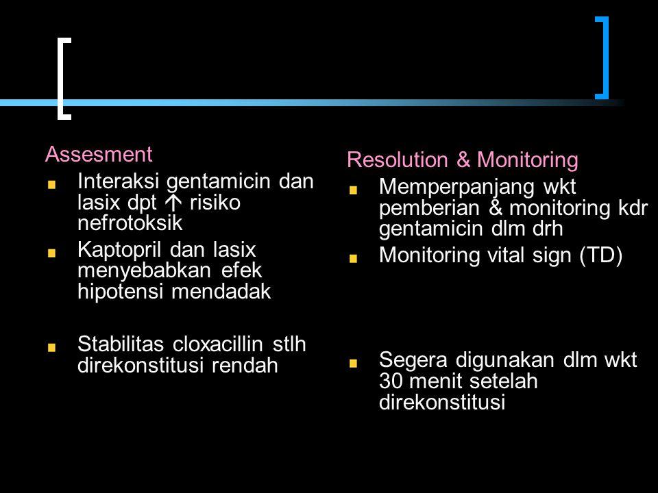 Assesment Interaksi gentamicin dan lasix dpt  risiko nefrotoksik Kaptopril dan lasix menyebabkan efek hipotensi mendadak Stabilitas cloxacillin stlh