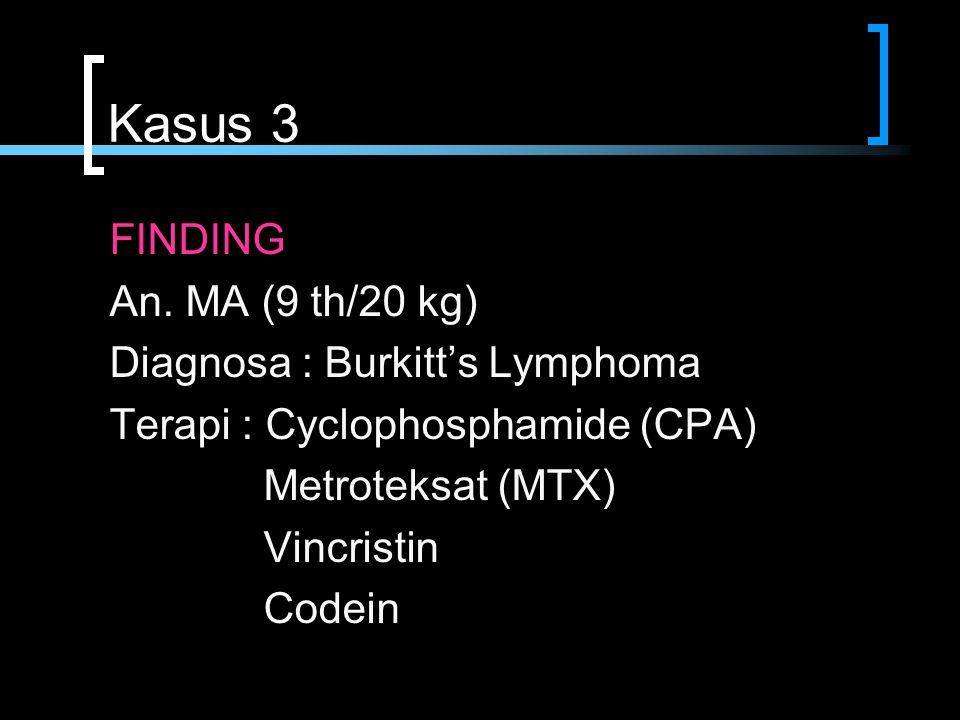Kasus 3 FINDING An. MA (9 th/20 kg) Diagnosa : Burkitt's Lymphoma Terapi : Cyclophosphamide (CPA) Metroteksat (MTX) Vincristin Codein